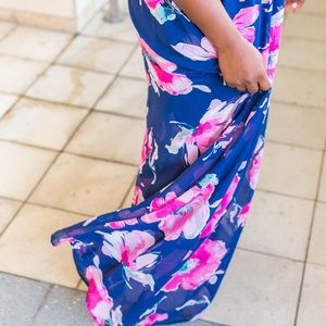 Navy blue floral maxi dress from Pink Lily